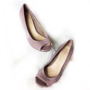 Cole Haan Nike Air Mauve Mini Wedge Peep Toe Shoes